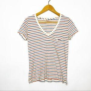 Madewell Red & White Striped V Neck Pocket T-Shirt